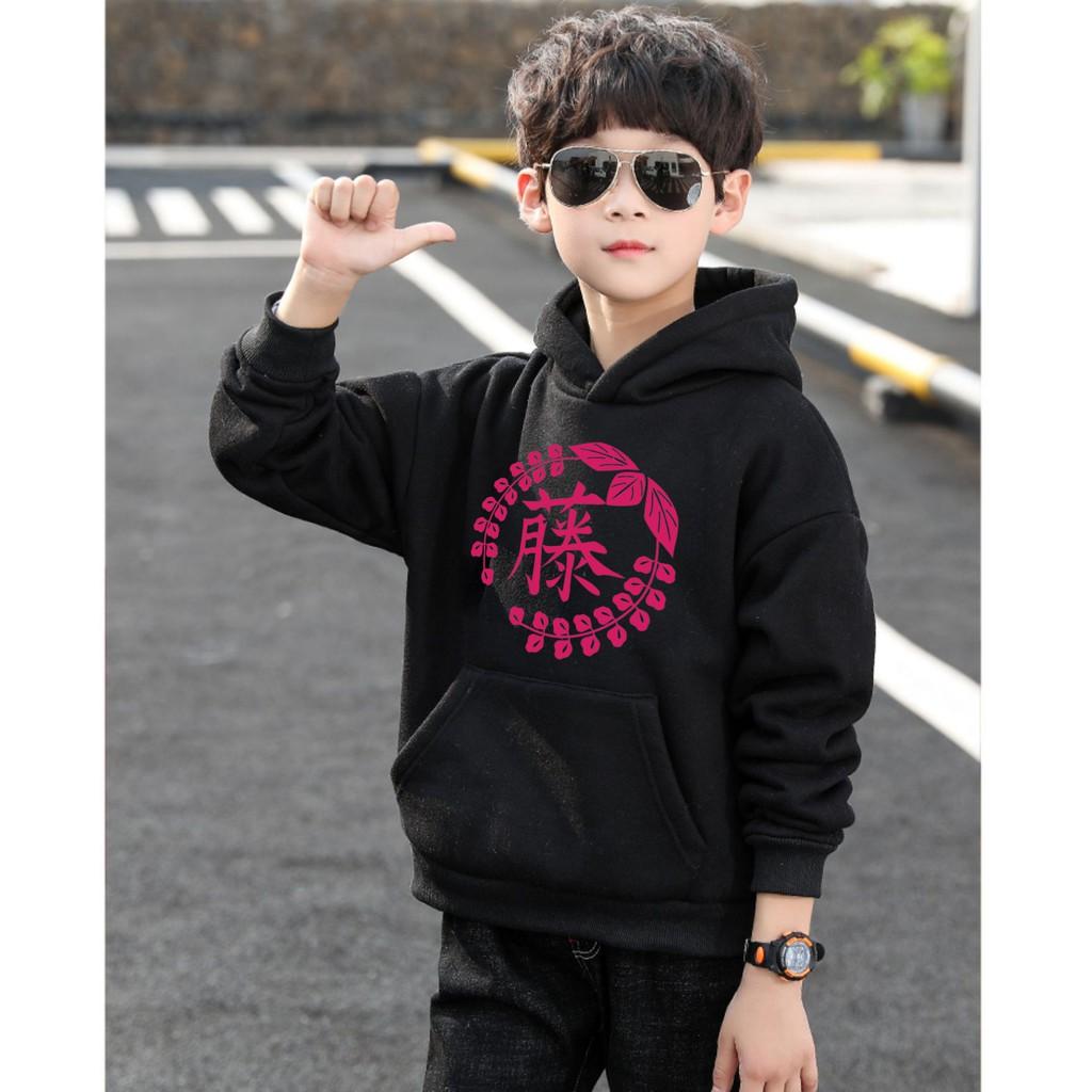 Áo Hoodie Trẻ Em WinBeen Hoa Tử Đằng Thanh Gươm Diệt Quỷ Form Rộng Vải Nỉ Dầy Ấm Phong Cách Manga