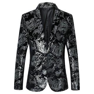 Coats Floral Blazer Jacket Male Plus Size Blazer for Men Stage Costumes Mens Suits Slim Fit Silver Gold