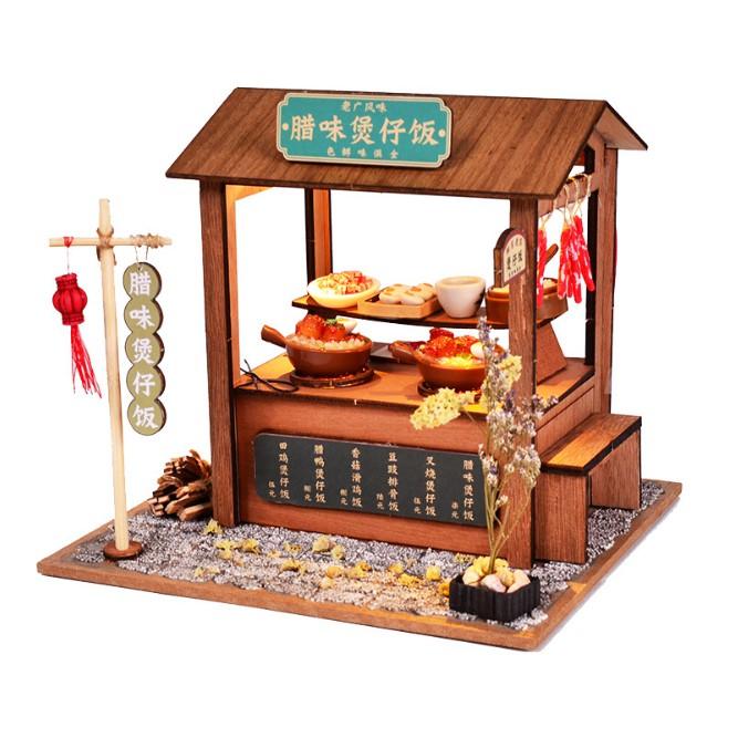 Mô hình nhà búp bê gỗ – tiệm cơm truyền thống Trung Quốc với các món ăn đặc trưng