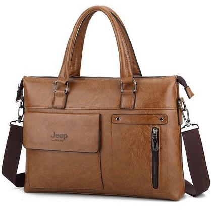 Túi xách cặp da đựng laptop công sở JEEP T06 KT: 38x28x7cm (Nâu đậm, Nâu sáng, Đen)