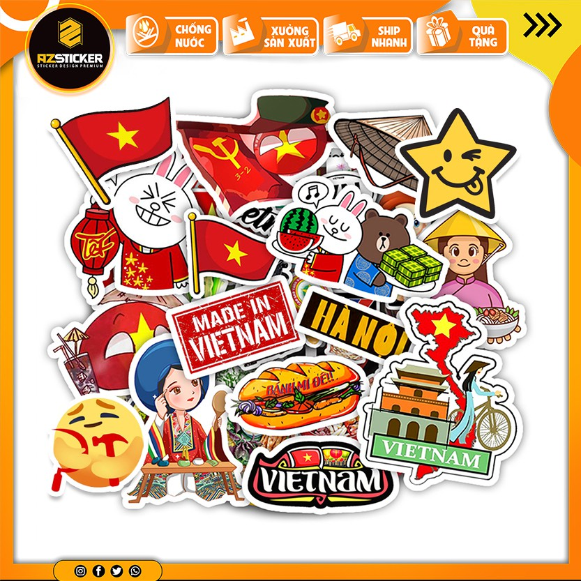 [Set 100+ Hình] Sticker In Hình Việt Nam   Dán Nón Bảo Hiêm, Điện Thoại, Laptop, Bình Nước...Chống Nước, Chống Bay Màu..