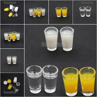 Happybay 2PCS Dollhouse Miniature Accessories Plastic Juice Cup Milk Cup Water Cup