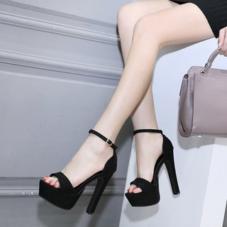 ㍿2021 new autumn hate day high 14cm ultra-high heels thick heel waterproof platform 15 sexy nightclub women 13