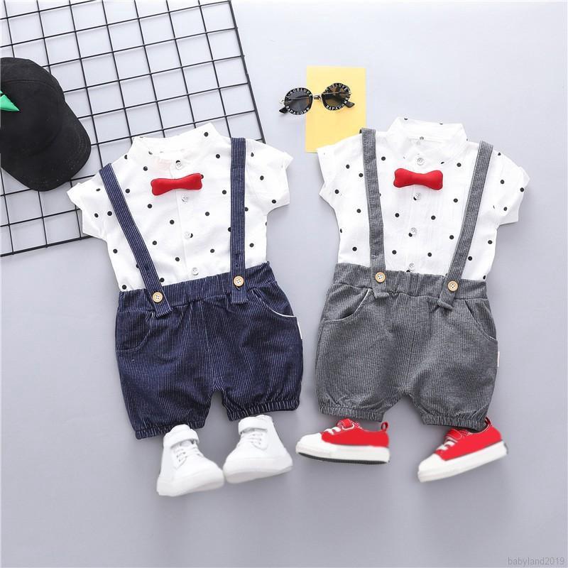 Set áo thun tay ngắn & quần short chấm bi cho bé trai