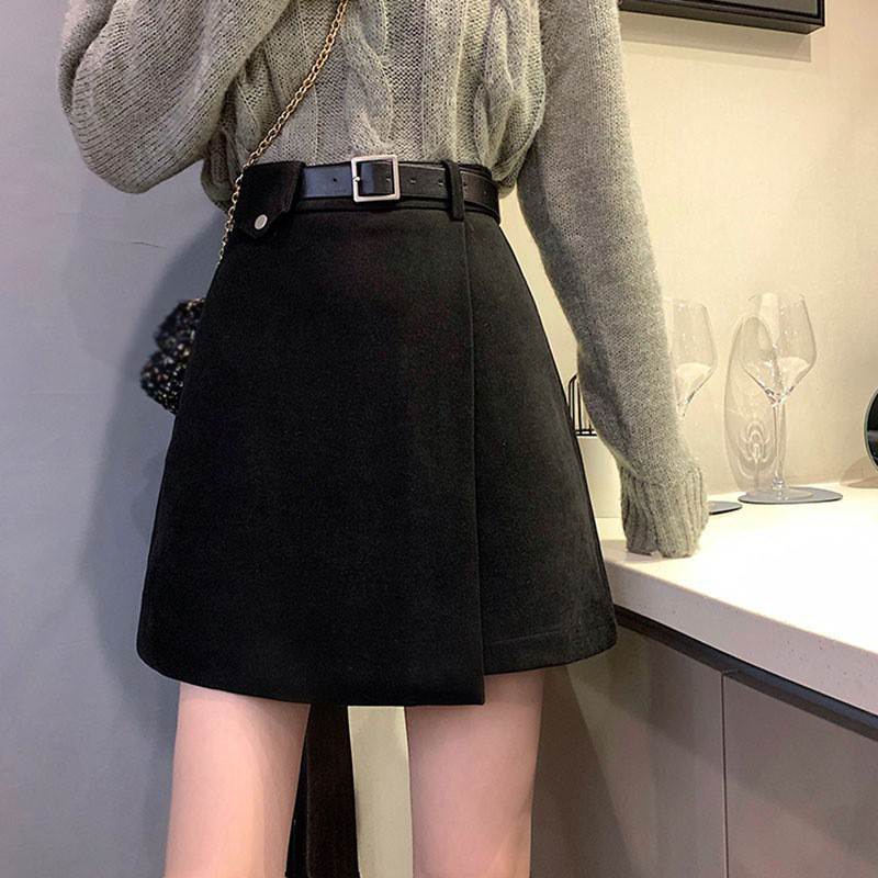 Chân Váy Len Chữ A Lưng Cao Màu Đen Phong Cách Hàn Quốc