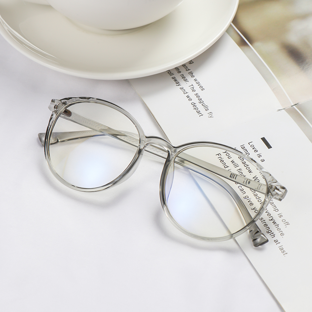 💋MAX Unisex Vintage Eyeglasses Clear Lens Flat Mirror Eyewear Optical Eye Glasses Reduces Eye Strain Transparent Round Frame High-definition Ultralight...