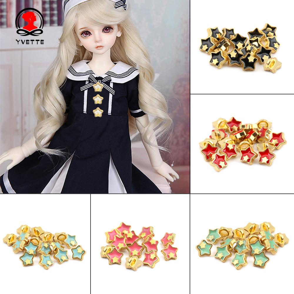YVETTE 20pcs 5mm Mini Buttons Printed Pattern Decoration DIY Doll Clothes Metal Buckles Craft Accessories Dollhoues Miniature Star Shape Cute Girl Gift Clothing Sewing Buckle/Multicolor