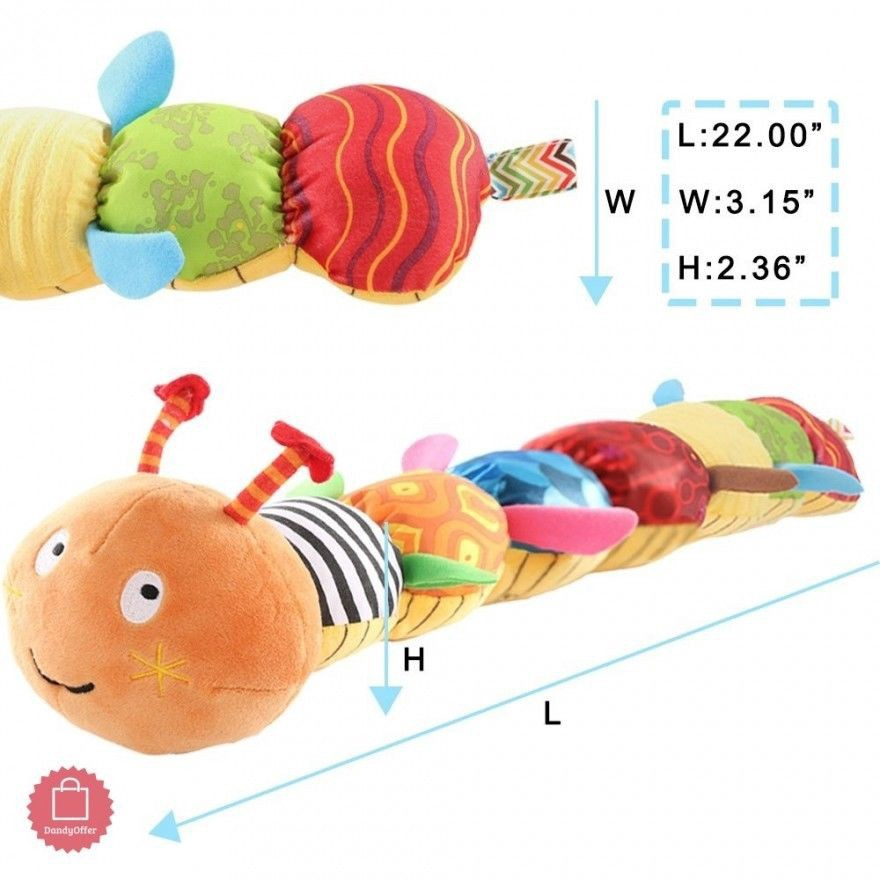 Sozzy Musical Caterpillar Toy Jcobay Interactive Multicolored Infant Stuffed Toy