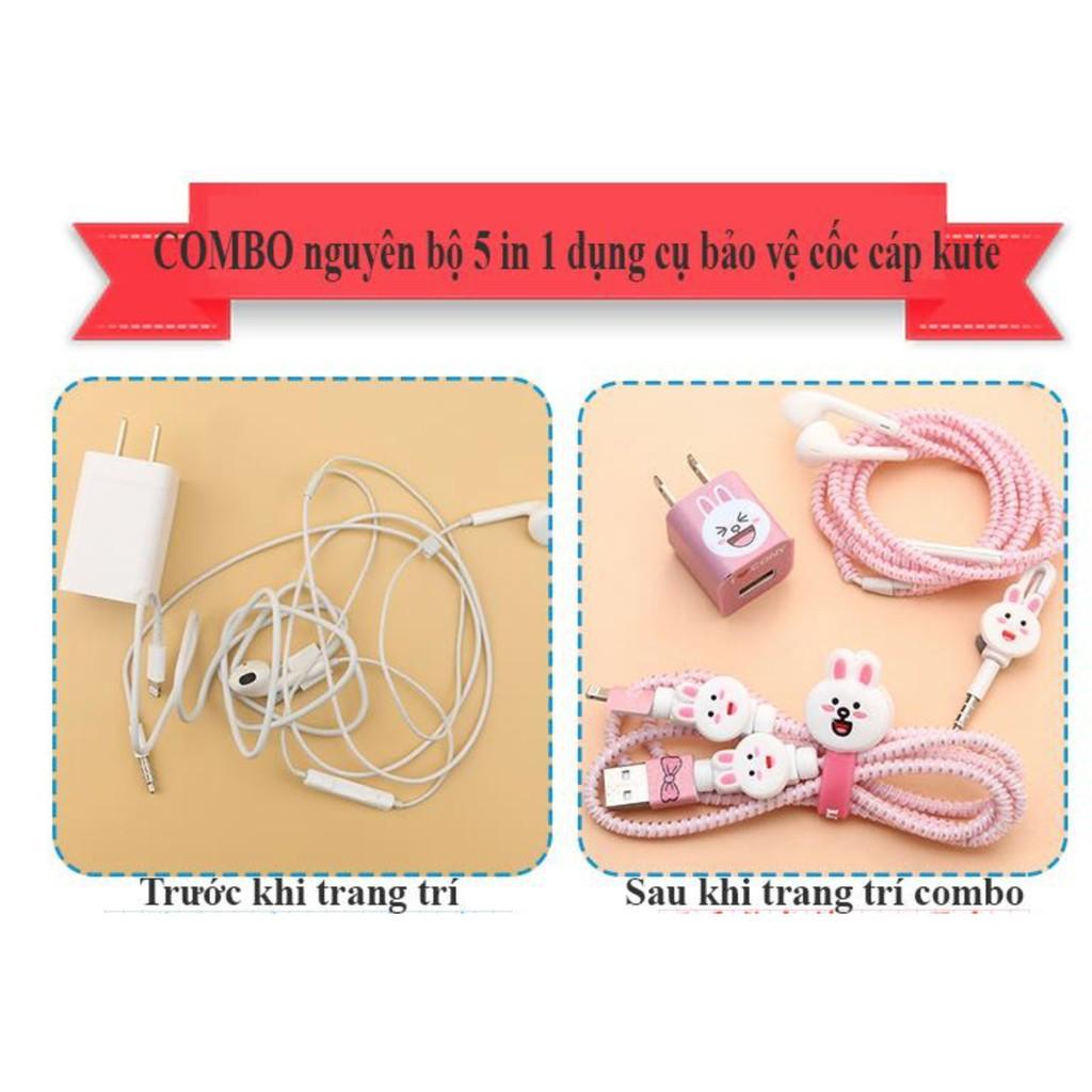 Bộ decal dán cóc sạc,quấn tai nghe,nút bảo vệ cho iphone