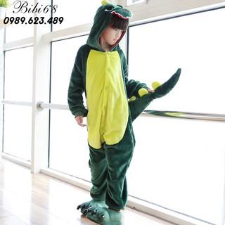 [MÃ BLUE5 Bộ Đồ Khủng Long xanh liền thân lông mịn Pijama dành Cho Người Lớn và Trẻ Em Hoạt hình Cosplay Kigurumi Onesie