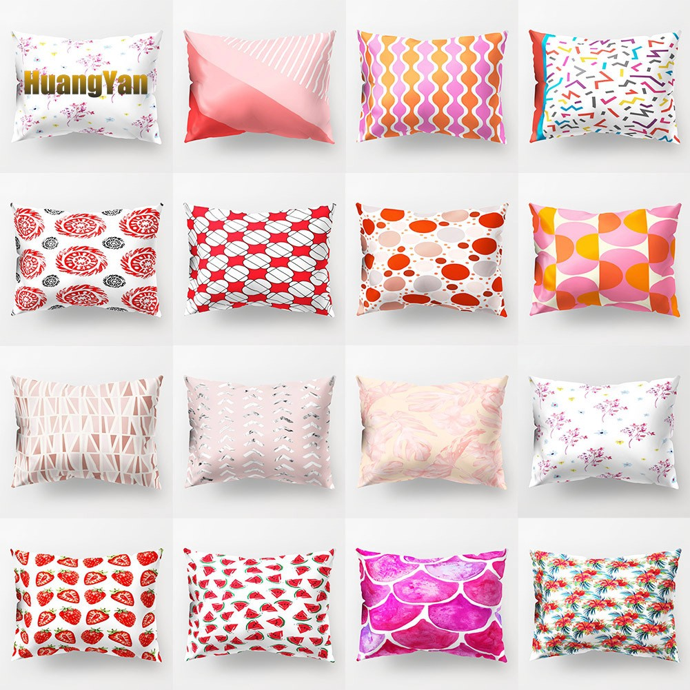 【HHEL】Circle Flower Fruit Pillow Cover Cushion Case Home Car Sofa Bedroom Hotel Decor