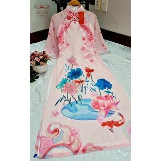 Áo dài tơ óng cao cấp đẹp kết hoa nổi cầu kì sang chảnh hàng thiết kế thumbnail