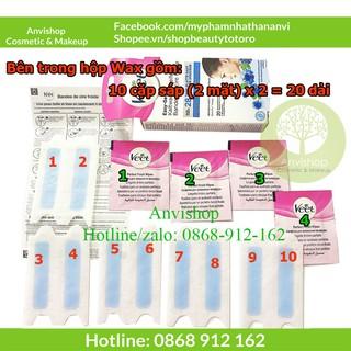 Wax lông mặt - wax ria mép Veet easy Gelwax hộp 20 miếng Hàng Đức ANVISHOP thumbnail