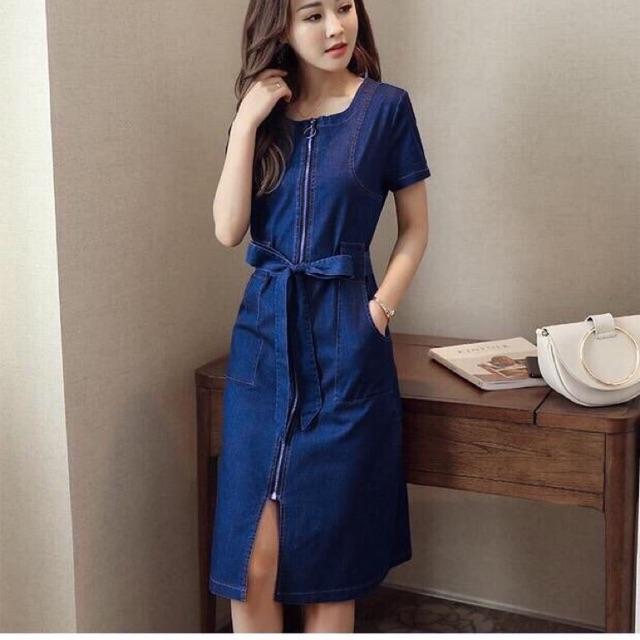 Đầm jean suông tay ngắn kèm thắt eo ( kèm ảnh trải sàn)