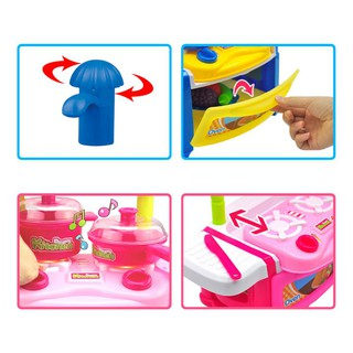 Inbeajy AG281-1B Toy Kictchen Pretend Play Food Cook for Fun-Pink