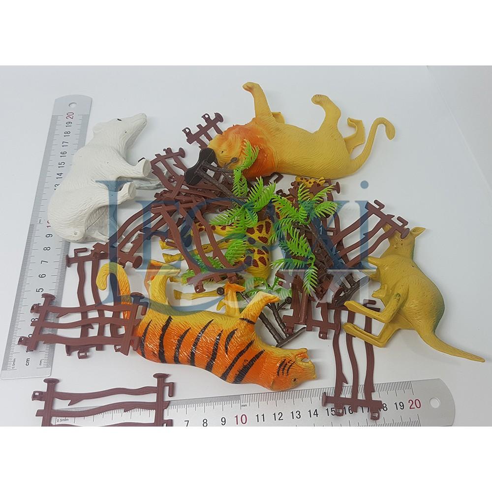 Bộ đồ chơi Nông trại Sư tử Hổ Hươu cao cổ Chuột túi Gấu 25 chi tiết Legaxi PM03