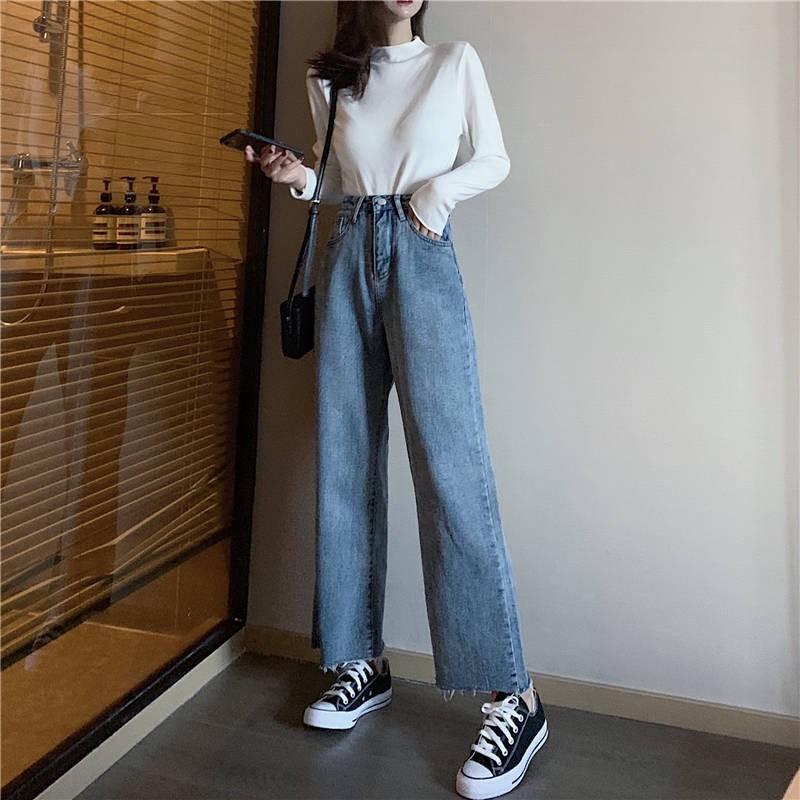 Women Jeans Korean High Waist Wide Leg Straight Loose Denim Pants