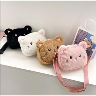 Túi Đeo Chéo Mặt Mèo Xinh Xắn Lông Mềm Mịn Được Các Bạn Trẻ Và Các Bé Yêu Thích 2