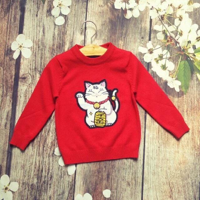 Áo len chú mèo thần tài cho bé - 2525010 , 859019530 , 322_859019530 , 180000 , Ao-len-chu-meo-than-tai-cho-be-322_859019530 , shopee.vn , Áo len chú mèo thần tài cho bé