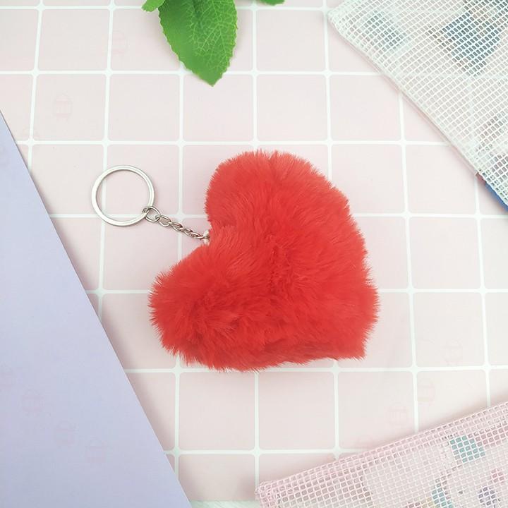 Móc khóa trái tim lông xù cực đẹp và mịn