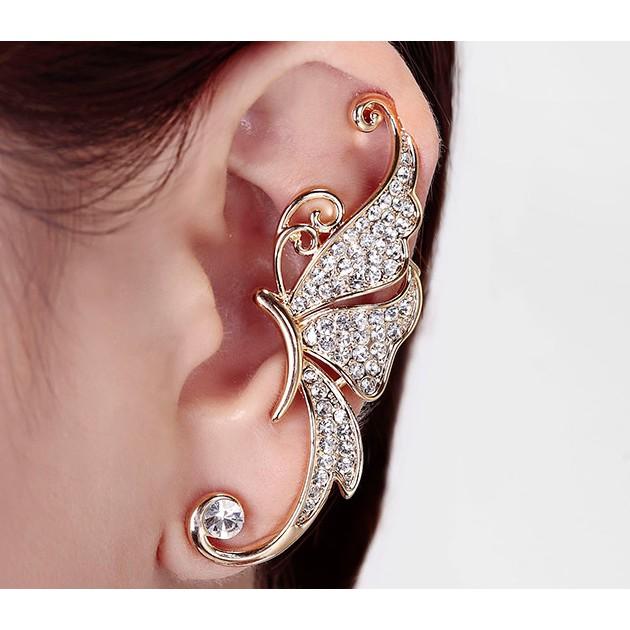 Khuyên tai hình bướm đính ngọc - kẹp vành tai - không cần lỗ tai (1 chiếc)
