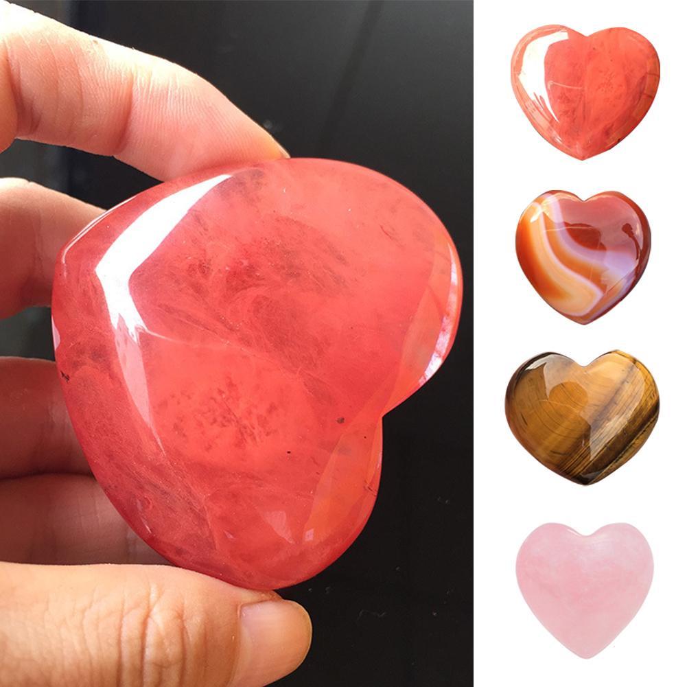 Natural Rose Quartz Heart Shaped Striped Agate Crystal Carved Palm Love Healing Gemstones