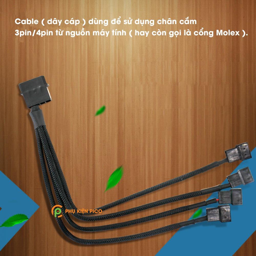 Dây chuyển đổi PSU Molex sang 4 Pin 1 ra 4 - Cáp Molex sang 4 pin Fan Case