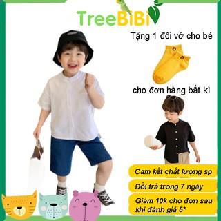 Áo sơ mi bé trai cổ tàu tay ngắn chất đũi thoáng mát - Thời trang trẻ em TreeBiBi thumbnail