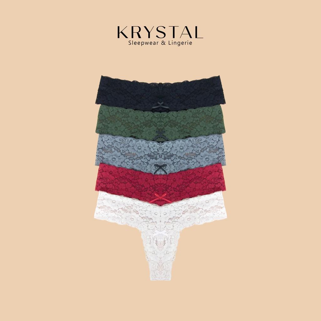 [Mã WAFAST hoàn 20% tối đa 100k xu đơn 250k] Combo 5 quần lót ren lọt khe chữ T sexy gợi cảm màu trơn KRYSTAL KQTC5-01