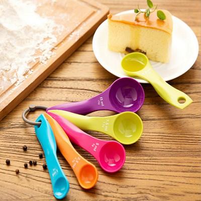 (HCM) Set 5 thìa đong màu sắc dùng nấu ăn, làm bánh, chế biến bữa phụ cho bé ăn dặm - Loại tốt