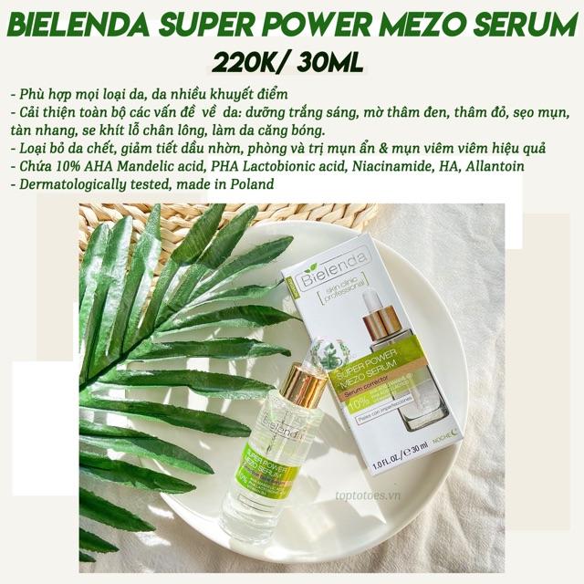 Serum Bielenda Super Power Mezo trị mụn, thâm, trắng da, se lỗ chân lông