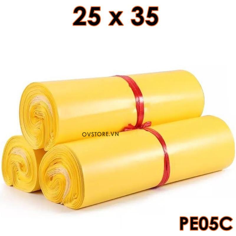 Túi Có Băng Keo Dán Miệng Chống Bóc 100Túi/Cuộn PE05 [25x35cm VÀNG] Bao bì, túi đựng
