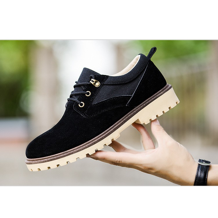 ⚡RE VÔ ĐỊCH⚡ Giày nam da lộn xu hướng 2020 công sở, đế kết phong cách Hàn Quốc chuẩn Form ( Màu đen)