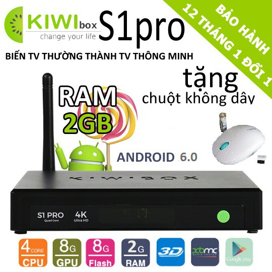 Android TV Box Kiwi S1 Pro tặng chuột không dây cao cấp - 3523783 , 1031650064 , 322_1031650064 , 849000 , Android-TV-Box-Kiwi-S1-Pro-tang-chuot-khong-day-cao-cap-322_1031650064 , shopee.vn , Android TV Box Kiwi S1 Pro tặng chuột không dây cao cấp