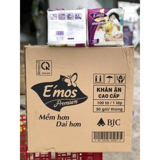 1 thùng 30 gói giấy ăn E'mos 100 tờ size 330mmx330mm
