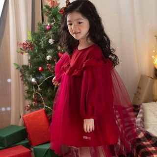 Váy nhung đỏ vai tròn phối voan đỏ cho bé gái Lamm