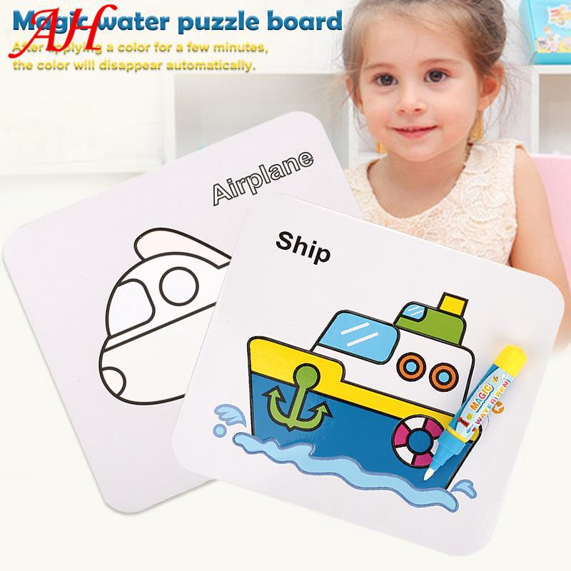👉🔥🔥 Multicolor Funny Recycling Graffiti Puzzle Game Plane Jigsaw Water Drawing Board Toy DIY Toy Educational Toy