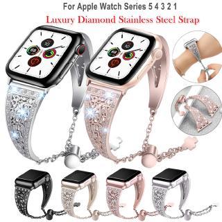 Dây đeo bằng thép không gỉ dát đá cho đồng hồ Apple watch 38mm 40mm 42mm 44mm series 6 SE 5 4 3 2 1