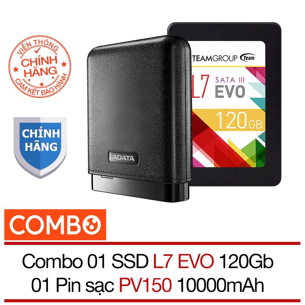 Combo Ổ cứng SSD 120GB Team L7 EVO Sata III + Pin sạc dự phòng 10000mAh PV150 Adata - Hãng phân phối - 2716962 , 989008692 , 322_989008692 , 999000 , Combo-O-cung-SSD-120GB-Team-L7-EVO-Sata-III-Pin-sac-du-phong-10000mAh-PV150-Adata-Hang-phan-phoi-322_989008692 , shopee.vn , Combo Ổ cứng SSD 120GB Team L7 EVO Sata III + Pin sạc dự phòng 10000mAh PV150
