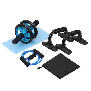 [B M]4-in-1 AB Wheel Roller Kit Spring Exerciser Abdominal Press Wheel Pro with Push-UP Bar Knee Pad Portable Equipment for Home Exercise Muscle Strength Fitness