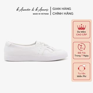Giày sneaker nữ thể thao màu trắng đẹp dáng giày bata đế bằng cổ thấp thời trang bAimée & bAmor – MS0762