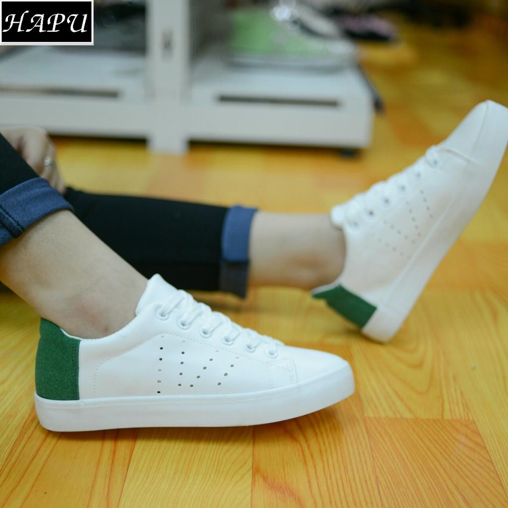 [FREE SHIP, Sỉ từ 2 đôi CỰC RẺ] Giày Sneaker nữ vá gót nỉ (xanh lá cây)