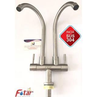Vòi Rửa Chén Bát Lạnh ĐÔI Inox 304 N5027 dùng cho 2 hộc chậu VÒI CHÉN LẠNH ĐÔI, cùng 1 lúc xả 2 vòi nước thumbnail