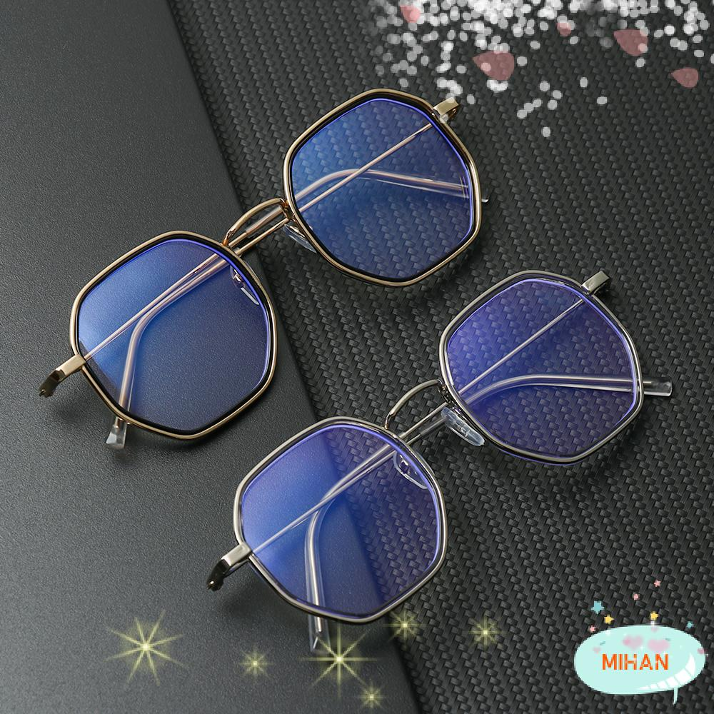 MIHAN1 Unisex Flat Mirror Eyewear Reduces Eye Strain Anti-UV Blue Rays Myopia Glasses Metal Round Frame Ultralight High-definition -1.0~-4.0 Eyeglasses