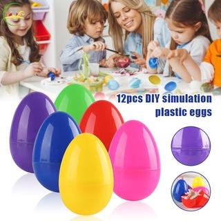 TG 12pcs Colorful Easter Eggs Children's Handmade Diy Plastic Egg Shell @vn