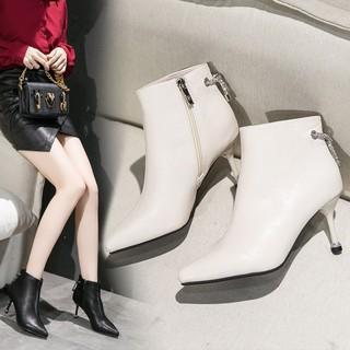 Bốt nữ giầy da cao cấp, chuỗi đá đính gót siêu sang chảnh full hộp sịn sò