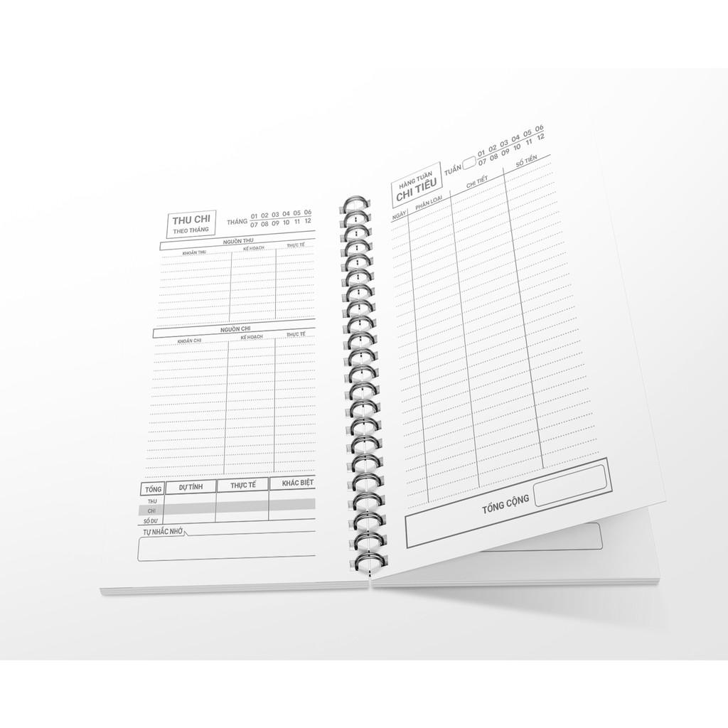Sổ tay giữ tiền bìa cứng, gáy xoắn 21x11 tài chính cá nhân, thu chi, tiết kiệm, 60 trang