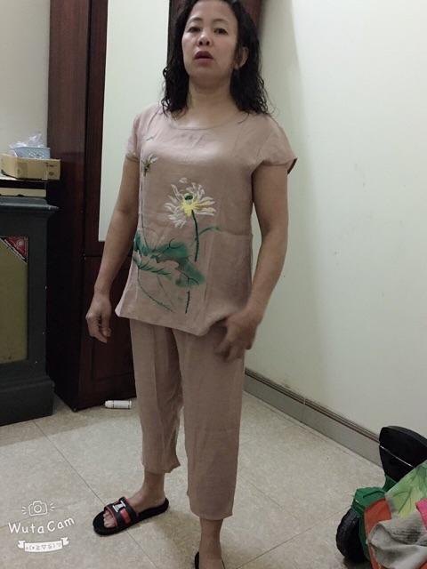 Bộ Mặc Nhà Trung Niên Hoa Sen