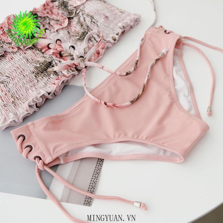 Mặc gì đẹp: Hè vui với Bộ đồ tắm hai mảnh họa tiết hoa màu hồng phong cách Hàn Quốc cho nữ