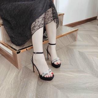 Giày Sandal nữ cao gót 12 phân quai đính lắc đá gót nhọn tôn dáng cực kì